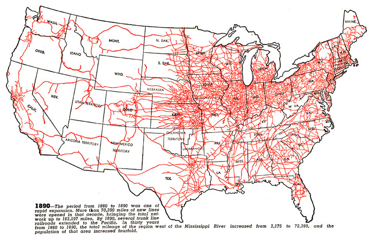 Progressive Development of U.S. Railroads, 1830-1890. From American Association of Railroads Booklet, 1951.